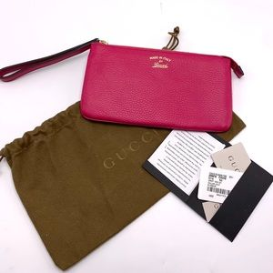 NWT GUCCI Swing Pink (Blossom) Leather Wristlet
